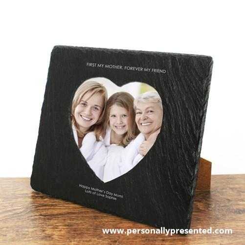 Personalised First My Mother Forever My Friend Heart Slate Photoframe - Personalised Gift From Personally Presented