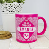 Personalised Floral Patterned Head Gardener Coloured Mug - Personalised Gift From Personally Presented