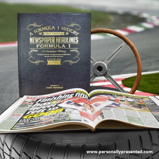 Formula One Newspaper Book - Black Leather Cover Embossed