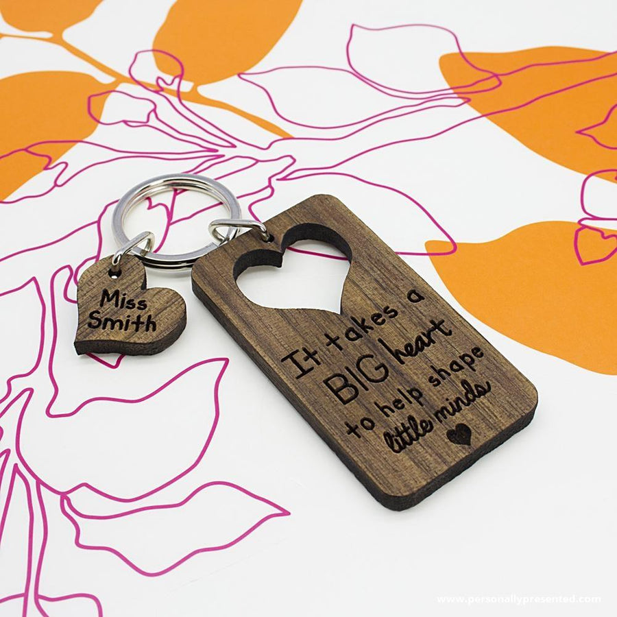 It Takes A Big Heart To Shape Little Minds Personalised Teachers Keyring - Personalised Gift From Personally Presented