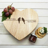 Personalised 'Love Birds' Romantic Heart Cheese Board - Personalised Gift From Personally Presented