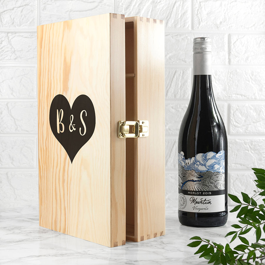Personalised Lovers Double Wine Box - Personalised Gift From Personally Presented