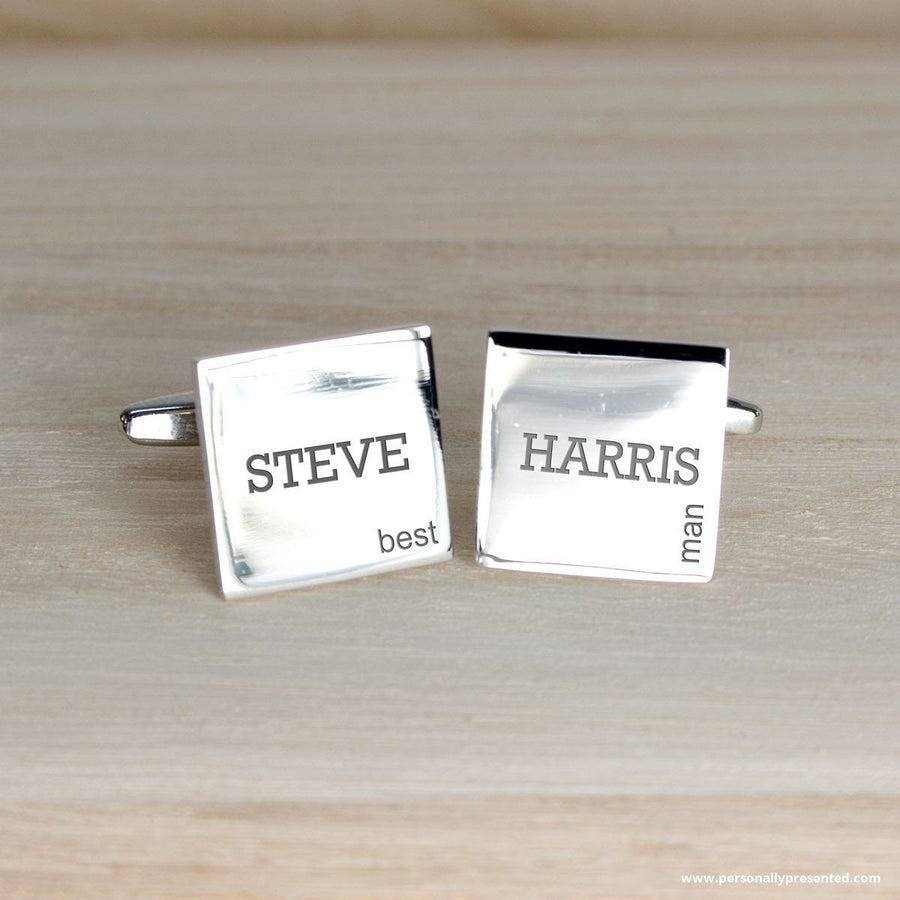 Personalised Modern Style Wedding Cufflinks - Personalised Gift From Personally Presented