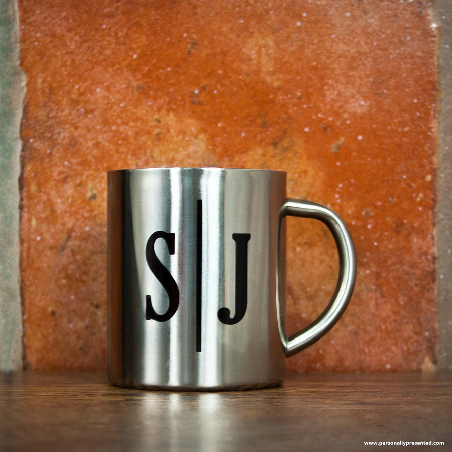 Personalised Monogram Initial Landscape Silver Outdoor Mug - Personalised Gift From Personally Presented
