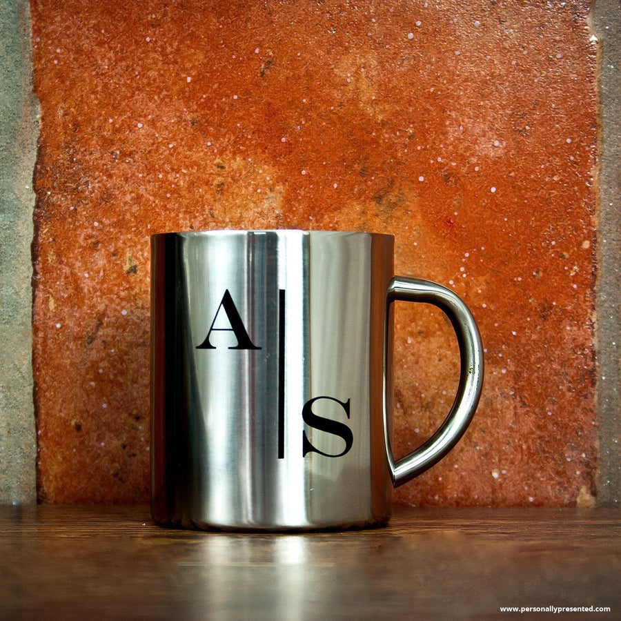 Personalised Monogram Stylised Initial Silver Outdoor Mug - Personalised Gift From Personally Presented