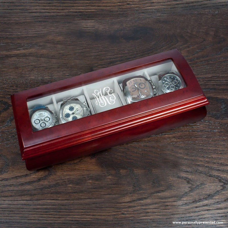 Personalised Monogram Wooden Watch Box - Personally Presented