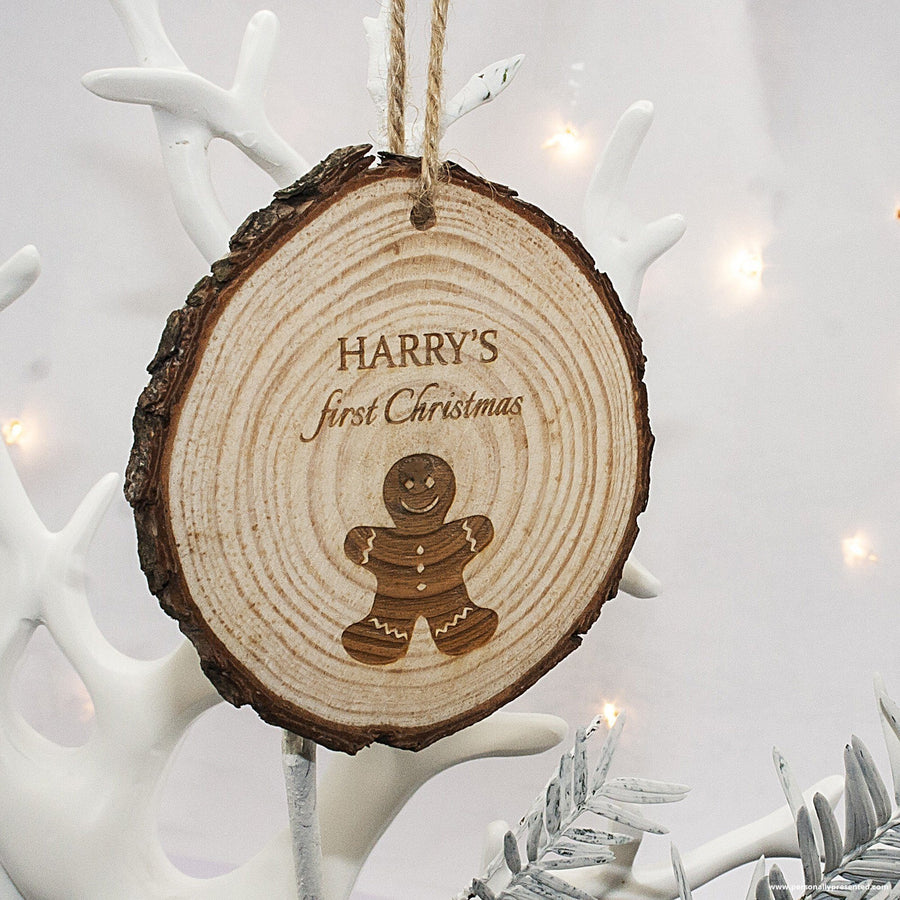 Personalised My First Christmas Gingerbread Man Hanging Decoration - Personalised Gift From Personally Presented