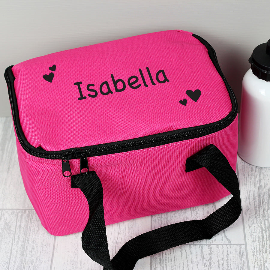 Personalised Black Hearts Pink Lunch Bag - Personalised Gift From Personally Presented