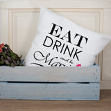 Personalised Eat Drink and be Married Couple Cushion Cover - Personalised Gift From Personally Presented