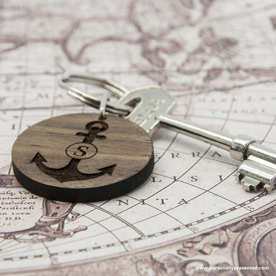 Personalised Anchor and Initial Round Wooden Keyring - Personalised Gift From Personally Presented