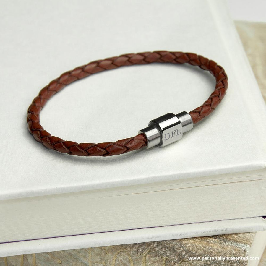 Personalised Men's Woven Leather Bracelet in Burnt Sienna - Personally Presented