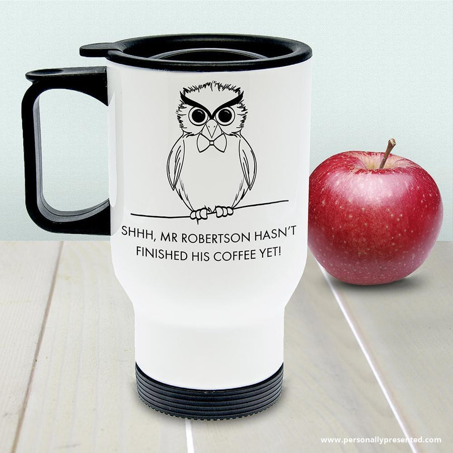 Personalised Teacher's Shhhh Travel Mug - Personalised Gift From Personally Presented