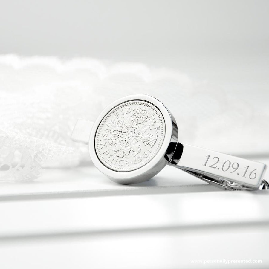 Personalised Silver Plated Lucky Sixpence Tie Clip - Personalised Gift From Personally Presented