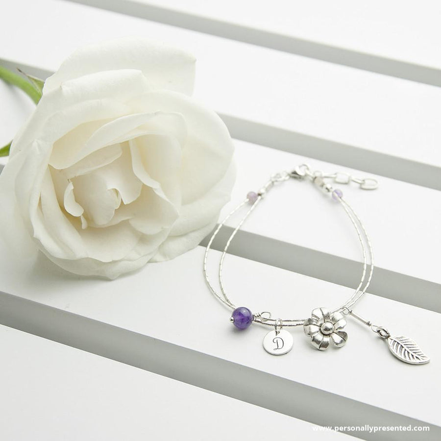 Personalised Forget Me Not Friendship Bracelet With Amethyst Stones - Personalised Gift From Personally Presented