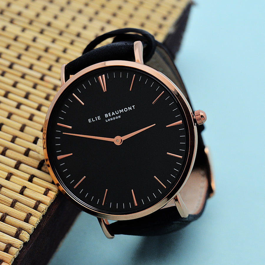 PERSONALISED MODERN - VINTAGE LEATHER WATCH IN BLACK & ROSE G0LD - Personalised Gift From Personally Presented