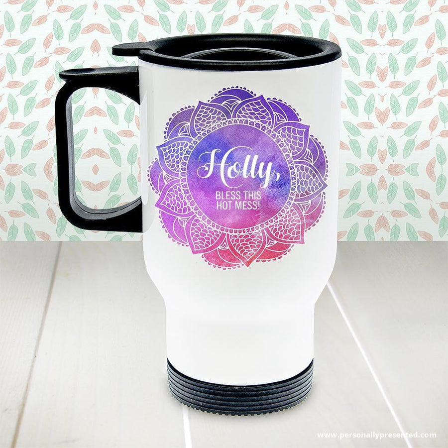Personalised Spirited White Travel Mug - Personalised Gift From Personally Presented