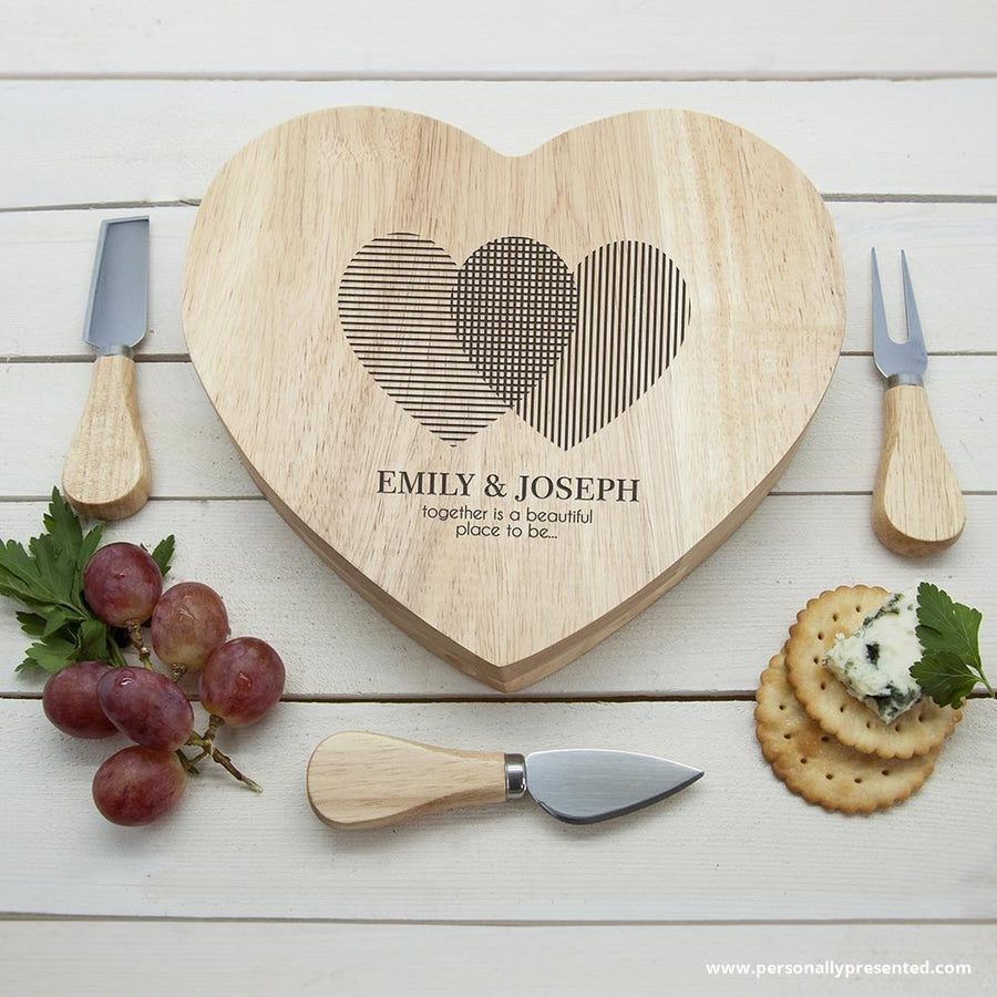 Engraved Heart Venn Diagram Heart Cheese Board - Personally Presented