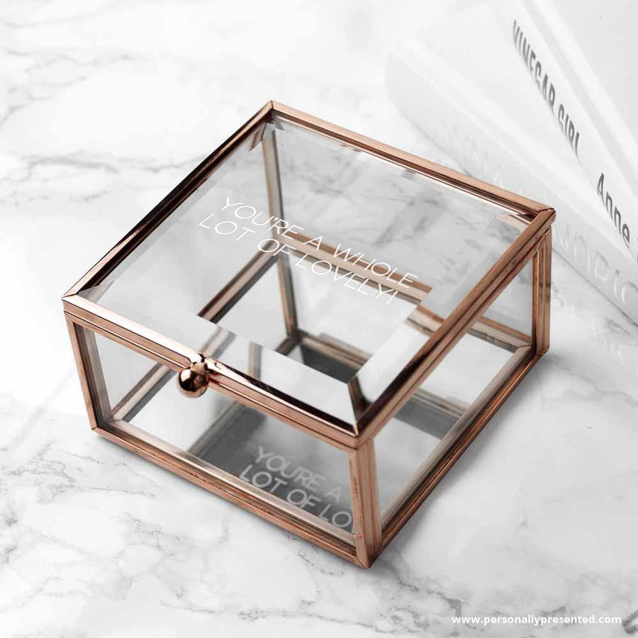 Personalised Rose Gold Glass Trinket Box - Personally Presented