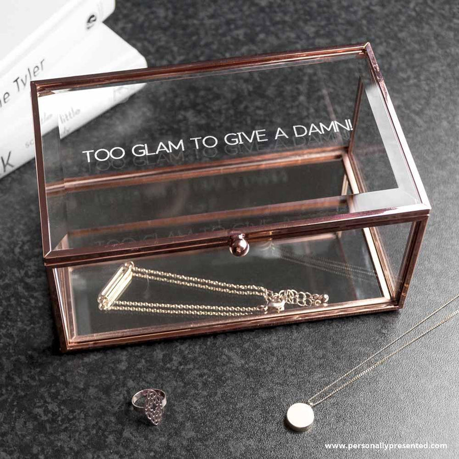Personalised Rose Gold Glass Jewellery Box - Personalised Gift From Personally Presented