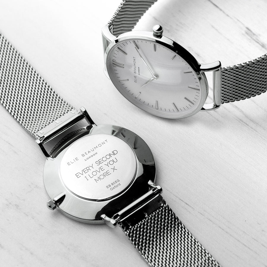 Personalised Ladies Metallic Mesh Strapped Watch With White Dial - Personalised Gift From Personally Presented