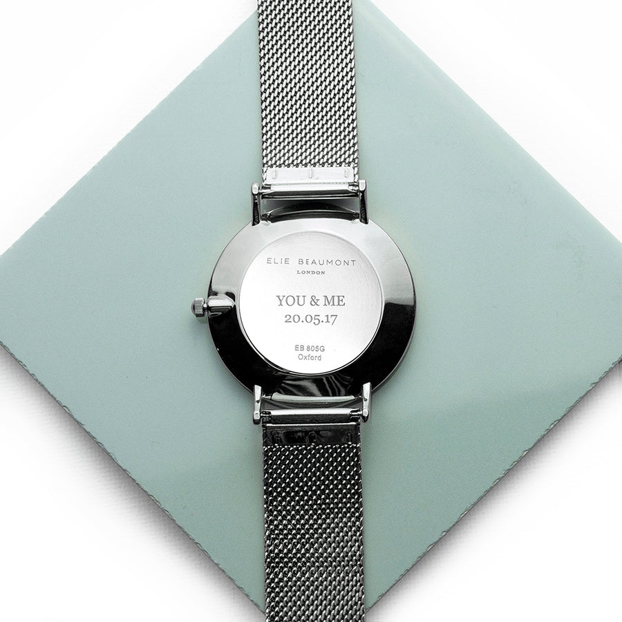 Ladies Personalised Metallic Mesh Strapped Watch With White Dial - Personalised Gift From Personally Presented