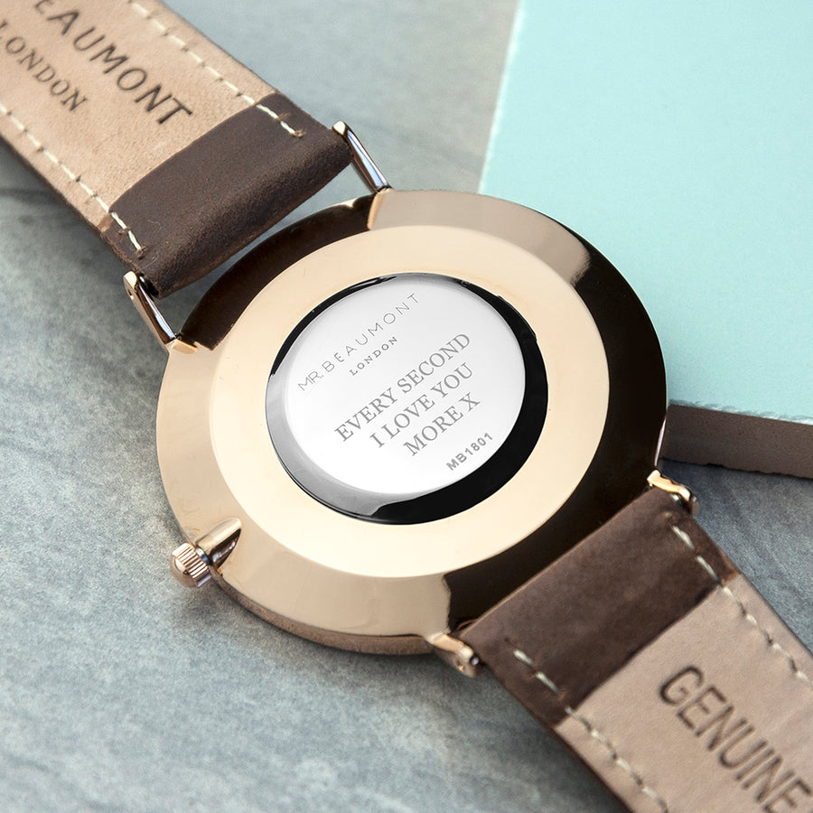 Men's Brown Modern-Vintage Personalised Leather Watch - Personalised Gift From Personally Presented