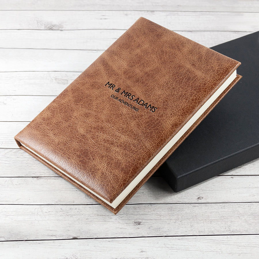 Personalised Large Natural Tan Leather Journal/Notebook - Personalised Gift From Personally Presented