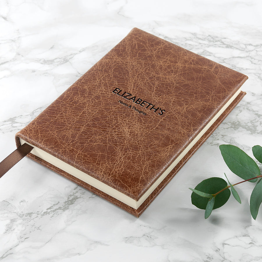 Personalised Small Natural Tan Leather Journal/Notebook - Personalised Gift From Personally Presented