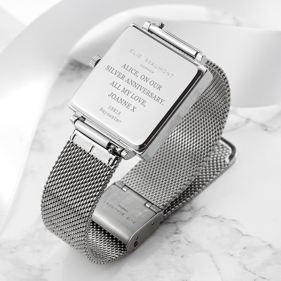 Personalised Ladies Silver Metallic Square Watch - Personalised Gift From Personally Presented