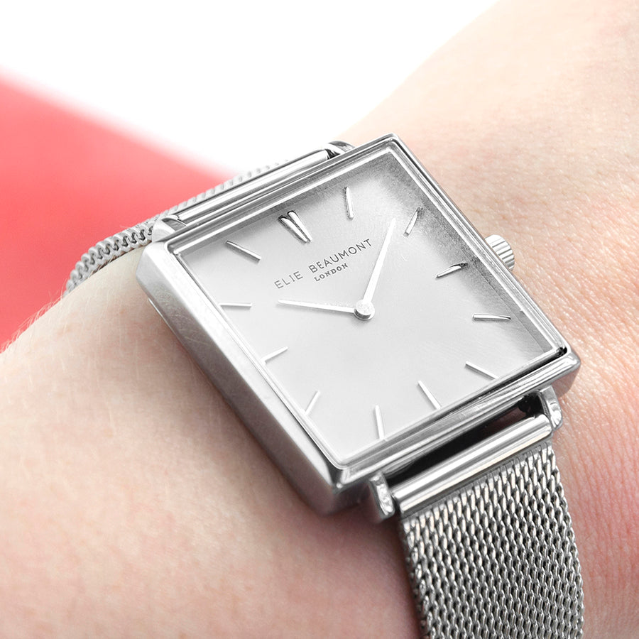 Personalised Ladies Silver Metallic Square Watch