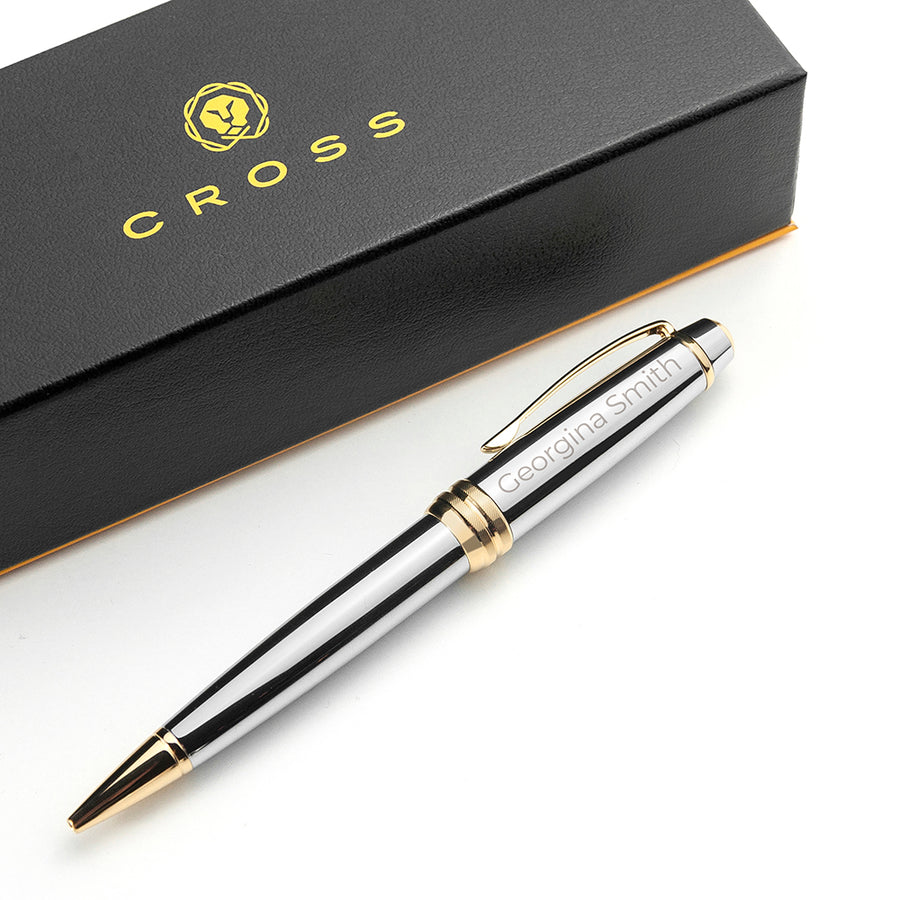 PERSONALISED CROSS SILVER GOLD MEDALLIST PEN - Personalised Gift From Personally Presented