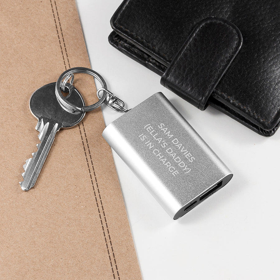 EMERGENCY PERSONALISED MINIATURE POWERBANK KEYRING - Personalised Gift From Personally Presented