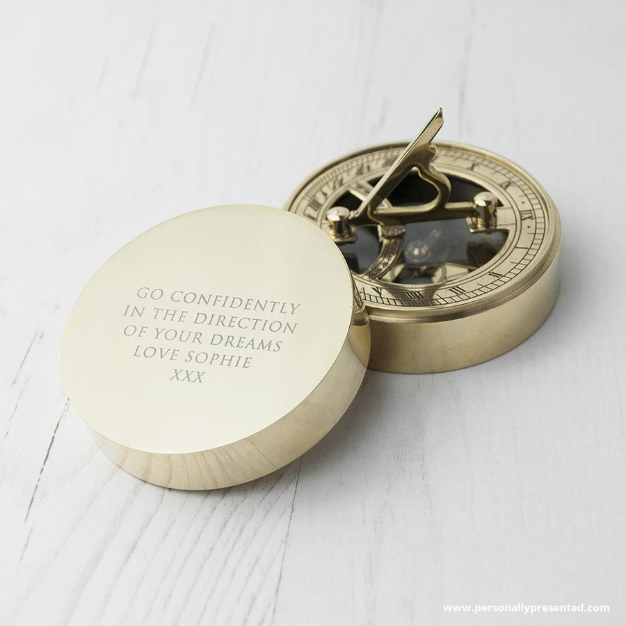 Personalised Adventurer's Brass Sundial and Compass - Personalised Gift From Personally Presented