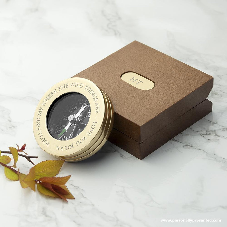 Personalised Brass Travellers Compass with Wooden Box - Personally Presented