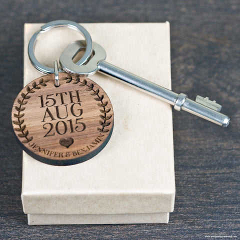 Custom Special Date Keyring - Circular Wreath and Heart Design - Personalised Gift From Personally Presented