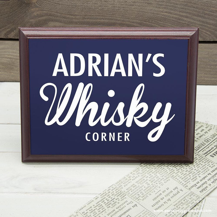 Personalised Whiskey Corner Plaque - Personalised Gift From Personally Presented