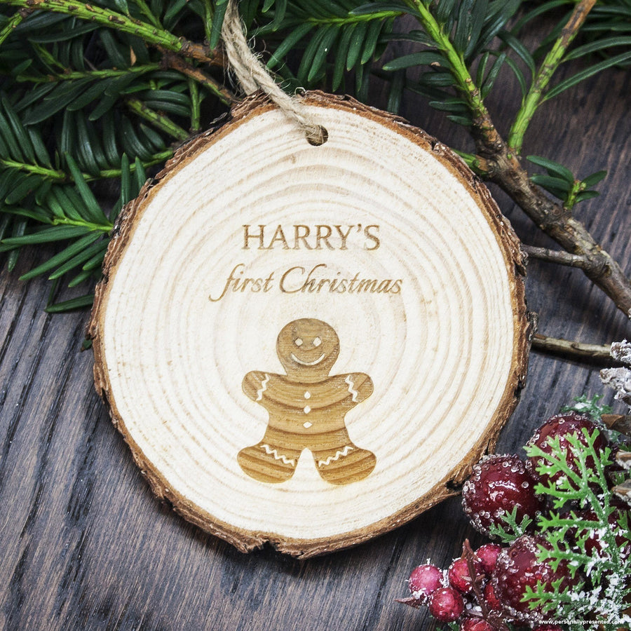 Personalised My First Christmas Gingerbread Man Hanging Decoration - Personally Presented
