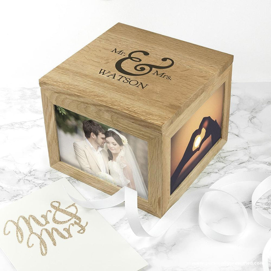 Classic Mr & Mrs Oak Photo Keepsake Box - Personalised Gift From Personally Presented