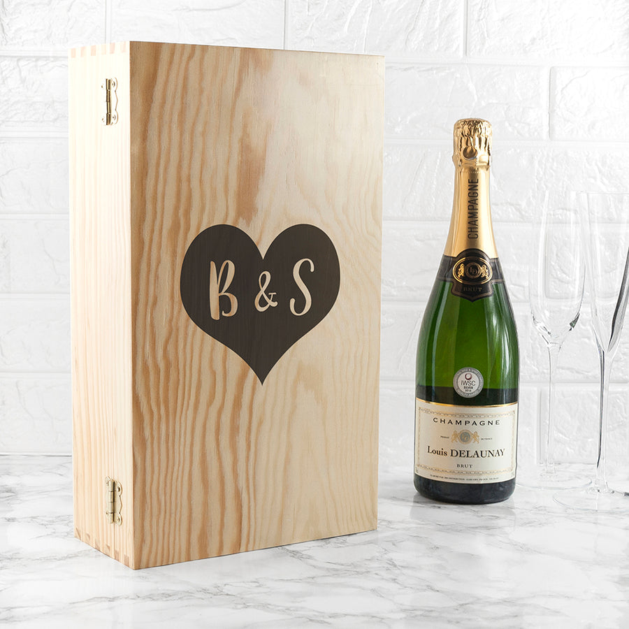 Personalised Lovers Double Wine Box - Personally Presented