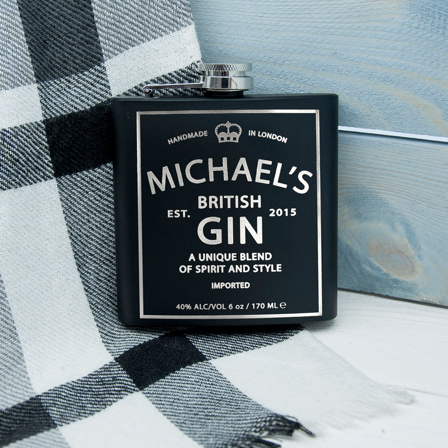 Personalised Gin Vintage Hip Flask - Personalised Gift From Personally Presented