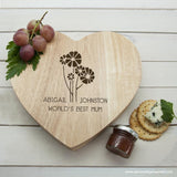Personalised Worlds Best Mum with Daisy Flowers Heart Cheese Board - Personalised Gift From Personally Presented