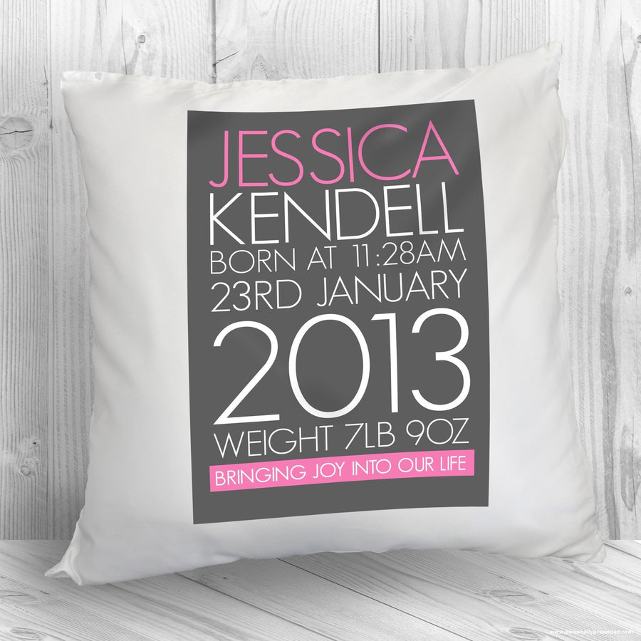 Personalised Baby Cushion Cover in Pink - Personalised Gift From Personally Presented