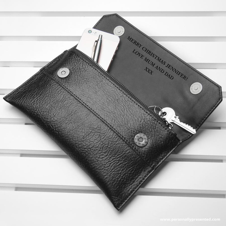 Personalised Black Leather Clutch Bag - Personalised Gift From Personally Presented