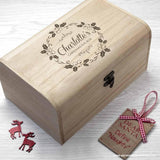 Personalised Christmas Eve Chest With Mistletoe Wreath - Personally Presented