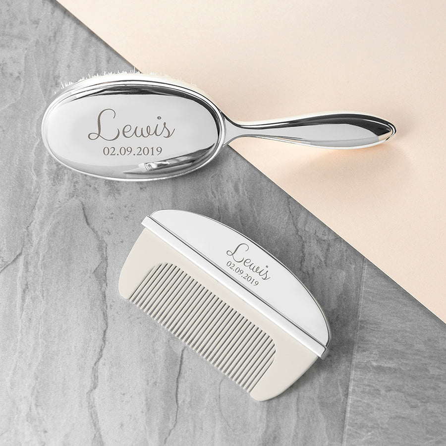 Personalised Classic Silver Plated Baby Brush And Comb Set - Personalised Gift From Personally Presented