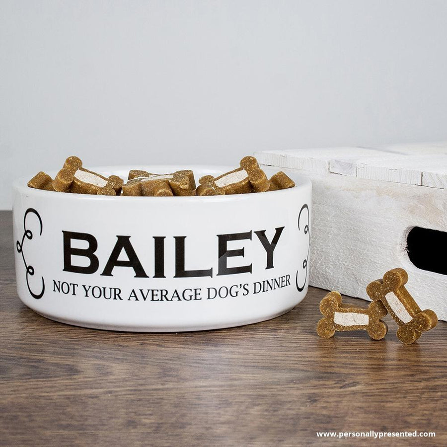 Personalised Dogs Dinner Dog Food Bowl - Personalised Gift From Personally Presented