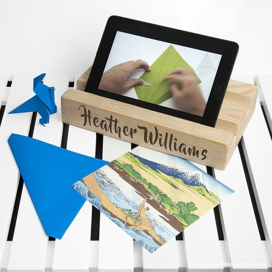 Personalised Double Office Desk Tablet Holder - Personalised Gift From Personally Presented