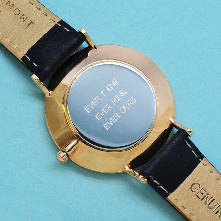 Modern - Vintage Personalised  Leather Watch in Black - Personalised Gift From Personally Presented
