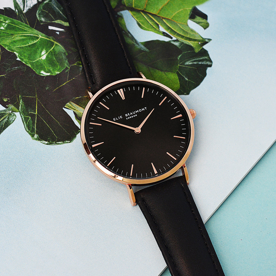 PERSONALISED LADIES MODERN - VINTAGE LEATHER WATCH IN BLACK - Personally Presented