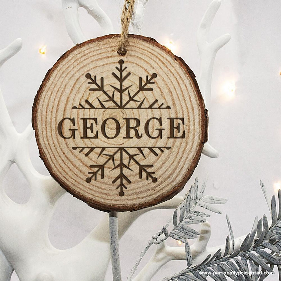 Personalised Engraved Snow Flake Christmas Tree Decoration - Personalised Gift From Personally Presented